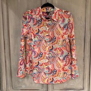 Talbots Multicolor Paisley Sheer Shirt Top Sz M